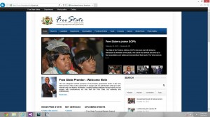 A screen shot of the Free State website. - image - www.freestateonline.fs.gov.za