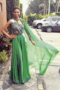 The dress that Ziphozakhe 'stole'. Miss South Africa, Ziphozakhe Zokufa in the controversial dress.  Image: TimesLive.